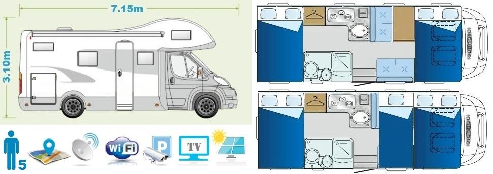 Comfort class camper floor plan