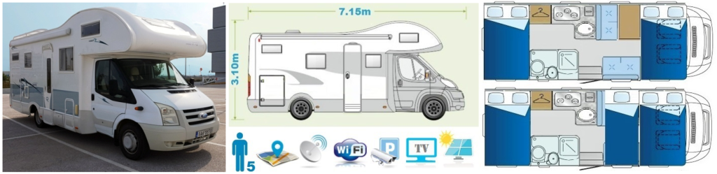 Comfort class Motorhome Camper Van and Recreation Vehicle (RV)