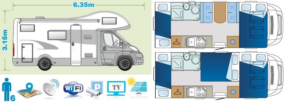 Holiday class camper floor plan