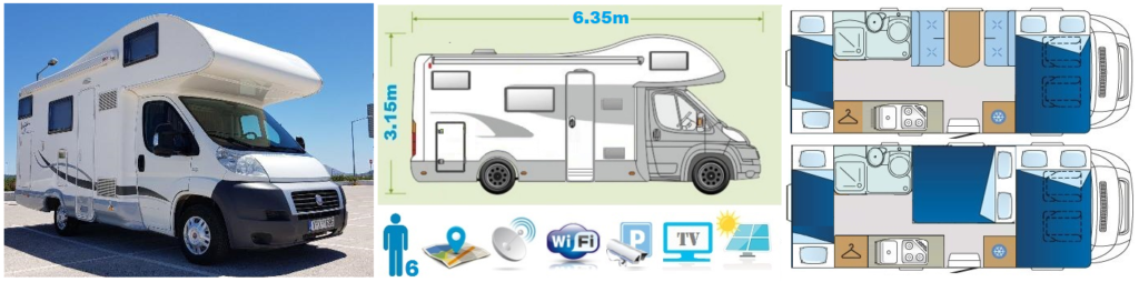 Holiday class Motorhome Camper Van and Recreation Vehicle (RV)