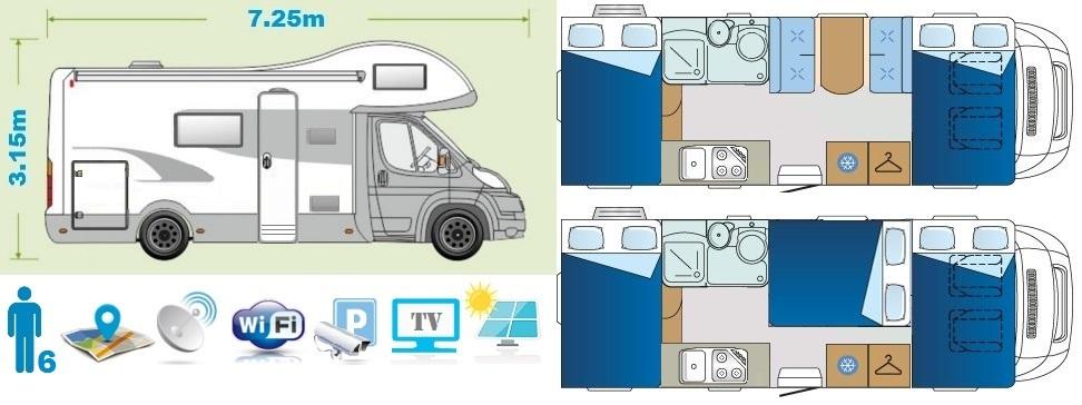 Premium class camper floor plan